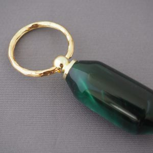 Irridescent Green Keyring with Gold Coloured fittings