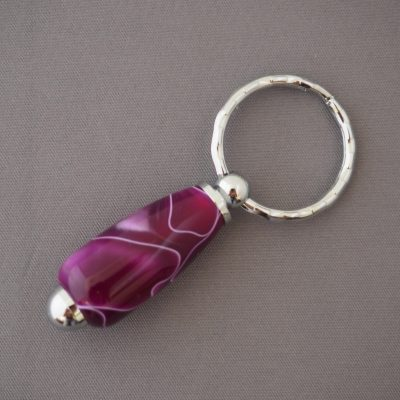 Purple Keyring with Silver Colured fittings